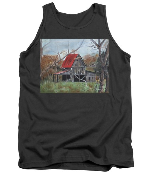 Tank Top featuring the painting Barn - Red Roof - Autumn by Jan Dappen
