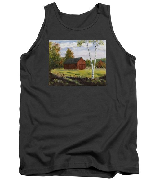 Barn With Lone Birch Tank Top by Alan Mager