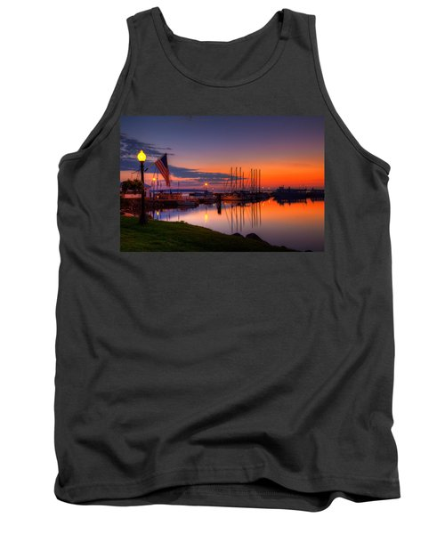 Bayfield Wisconsin Fire In The Sky Over The Harbor Tank Top