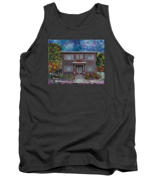Tank Top featuring the mixed media Alameda Bayview 1926 - Colonial Revival by Linda Weinstock