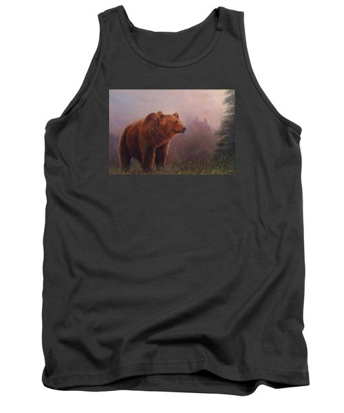 Tank Top featuring the painting Bear In The Mist by Donna Tucker