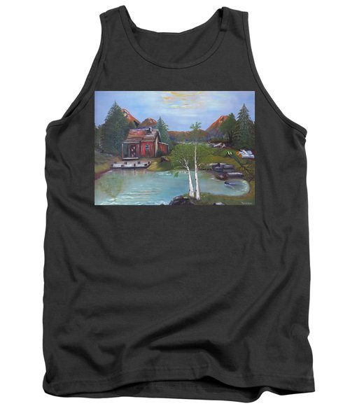Tank Top featuring the painting Beaver Pond - Mary Krupa by Bernadette Krupa