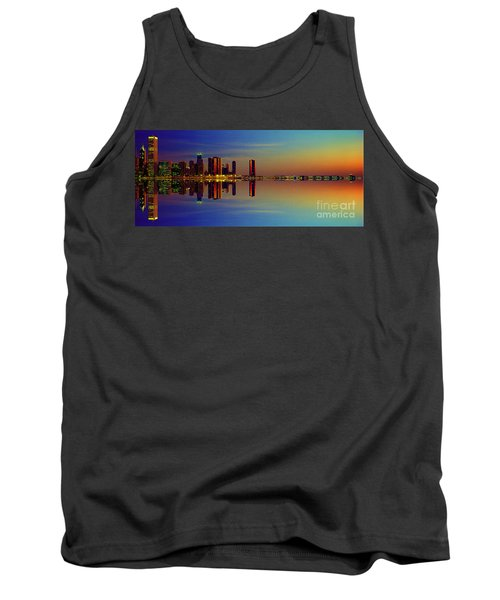 Between Night And Day Chicago Skyline Mirrored Tank Top