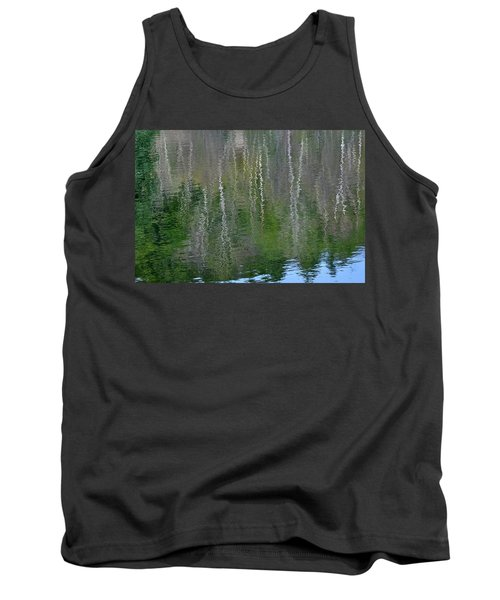 Birch Trees Reflected In Pond Tank Top