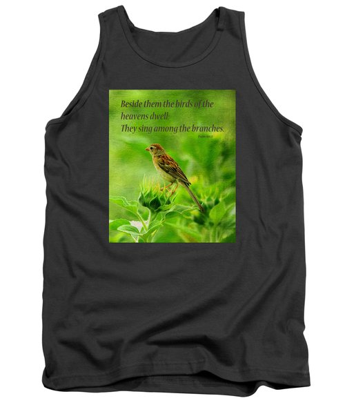 Bird In A Sunflower Field Scripture Tank Top
