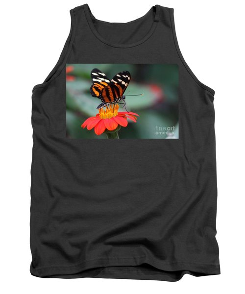 Black And Brown Butterfly On A Red Flower Tank Top