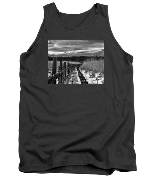 Tank Top featuring the photograph black and White Danger 2 bordway cover with slippery ice by Leif Sohlman