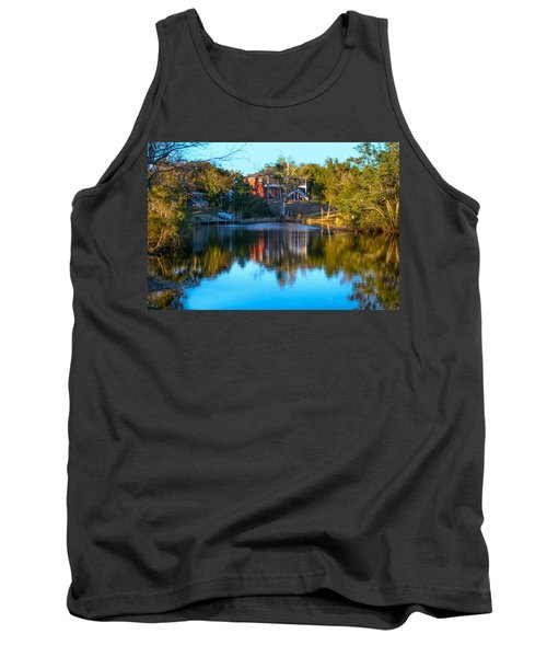 Black Water River In Blue Tank Top