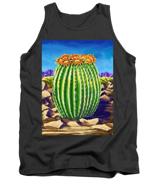 Tank Top featuring the painting Blooming Barrel Cactus by Tim Gilliland