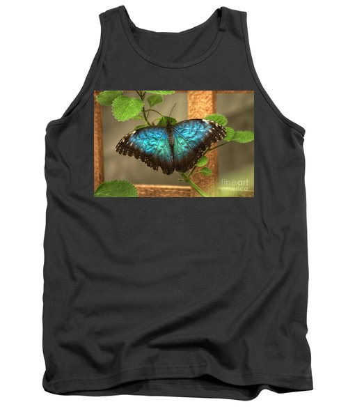 Blue And Black Butterfly Tank Top