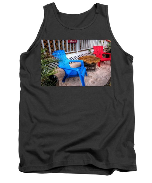 Blue And Red Chairs Tank Top by Michael Thomas