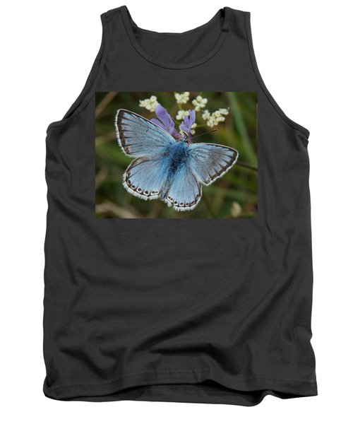 Blue Butterfly Tank Top by Ron Harpham