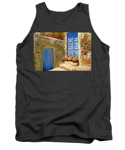 Blue Doors Of Santorini Tank Top by Madeline Ellis