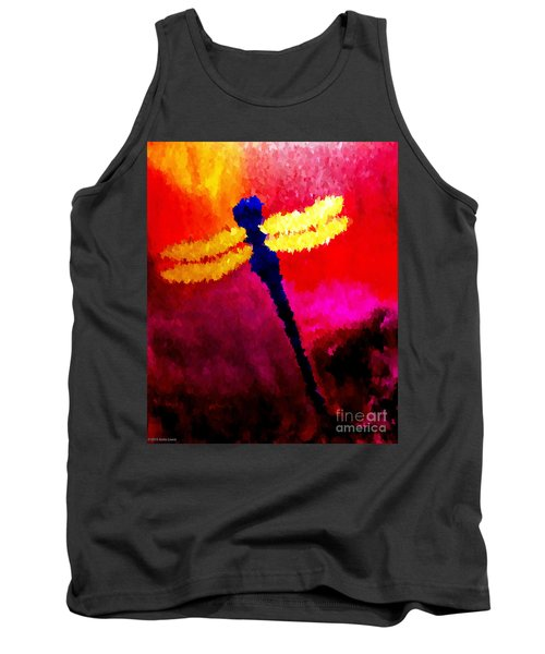 Tank Top featuring the painting Blue Dragonfly No 2 by Anita Lewis
