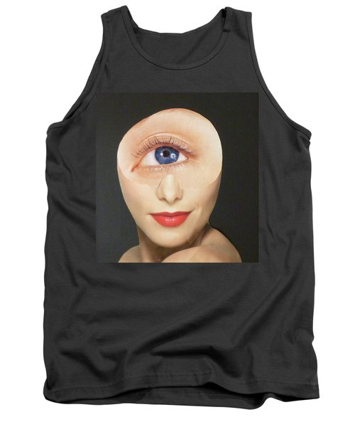 Tank Top featuring the mixed media Blue Eye Beauty Cutie by Douglas Fromm