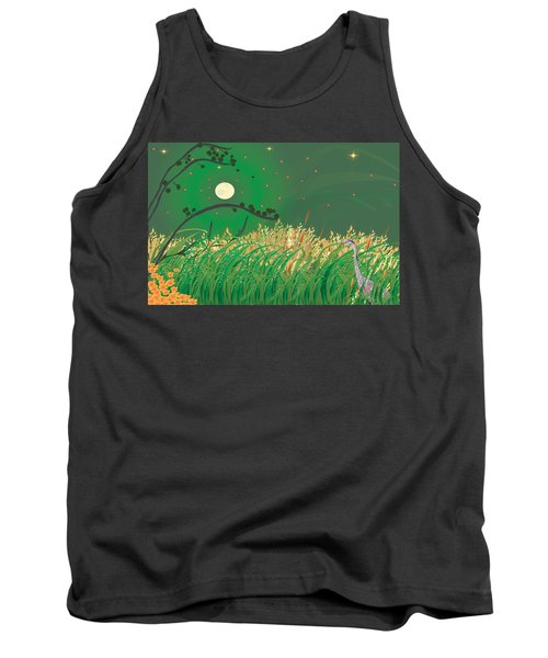 Tank Top featuring the digital art Blue Heron Grasses by Kim Prowse