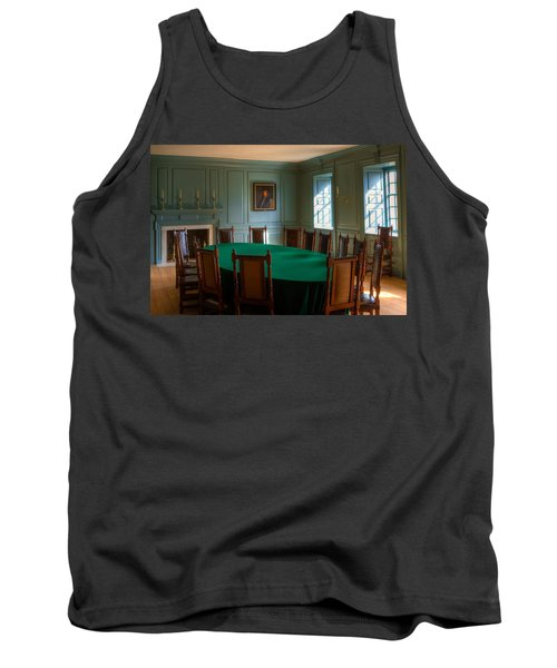 Tank Top featuring the photograph Blue Room 2 Wren Building by Jerry Gammon