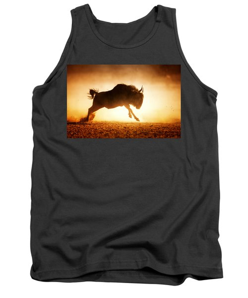 Blue Wildebeest Running In Dust Tank Top