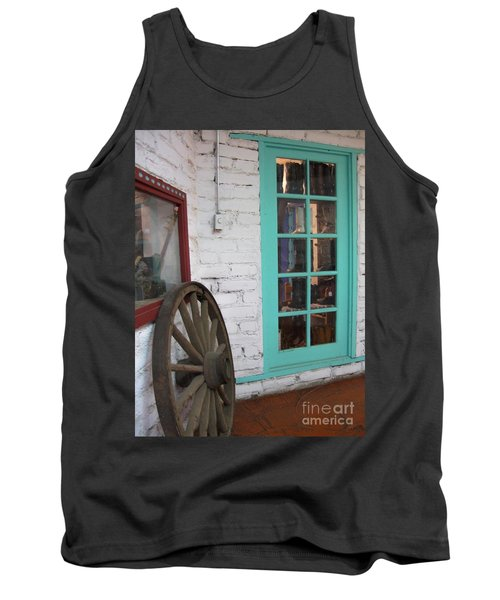 Tank Top featuring the photograph Blue Window And Wagon Wheel by Dora Sofia Caputo Photographic Art and Design