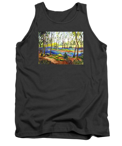 Tank Top featuring the painting Bluebell Woods by Carol Wisniewski