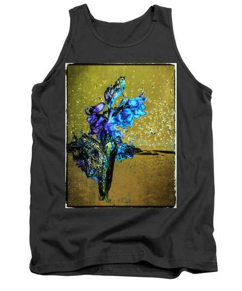 Tank Top featuring the mixed media Bluebells In Water Splash by Peter v Quenter