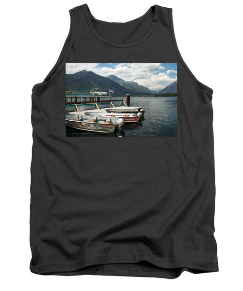 Boats On Lake Mcdonald Tank Top