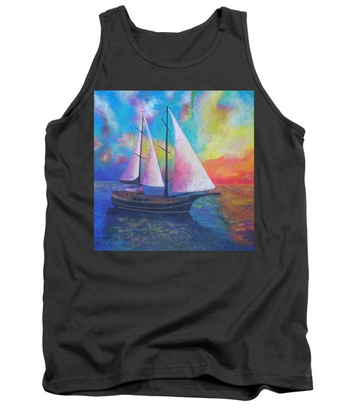 Tank Top featuring the painting Bodrum Gulet Cruise by Tracey Harrington-Simpson