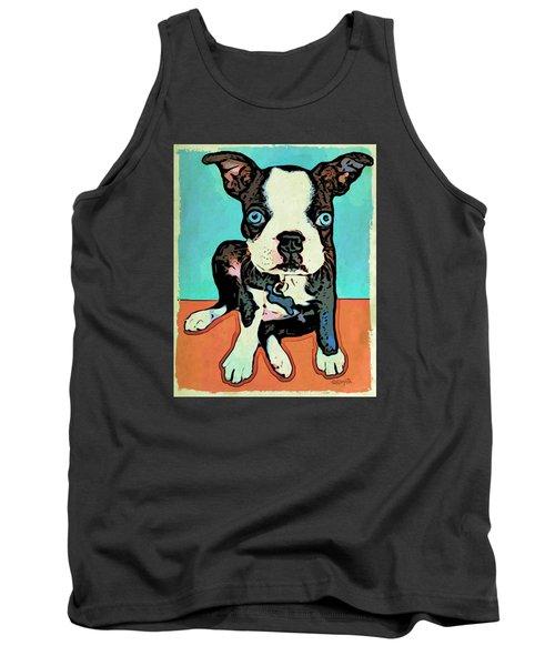 Boston Terrier - Blue Tank Top by Rebecca Korpita