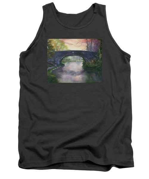 Tank Top featuring the painting Bridge 91 At Fradley Canal Staffordshire Uk by Jean Walker
