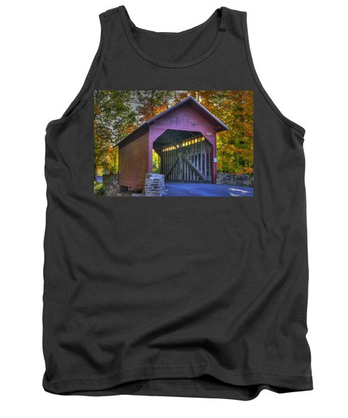 Bridge To The Past Roddy Road Covered Bridge-a1 Autumn Frederick County Maryland Tank Top by Michael Mazaika