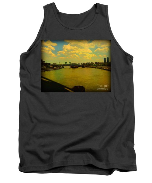 Tank Top featuring the photograph Bridge With Puffy Clouds by Miriam Danar