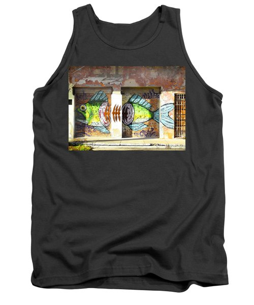Brightly Colored Fish Mural Tank Top by Anne Mott