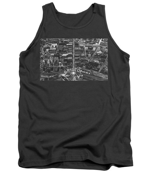 Bristol Virginia Tennessee Early Aerial Photo Tank Top