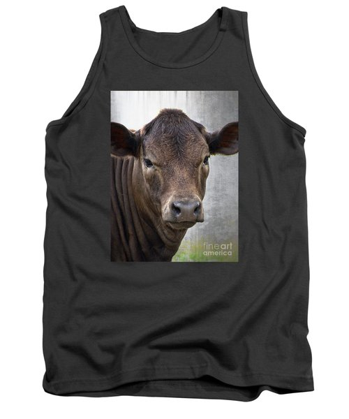 Tank Top featuring the photograph Brown Eyed Boy - Calf Portrait by Ella Kaye Dickey