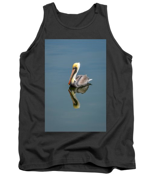 Tank Top featuring the photograph Brown Pelican Reflection by Debra Martz