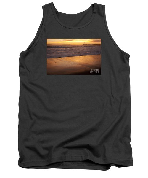 Bubbles On The Sand With Ventura Pier  Tank Top by Ian Donley