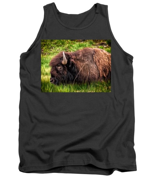 Tank Top featuring the painting Buffalo Cat Nap by Michael Pickett