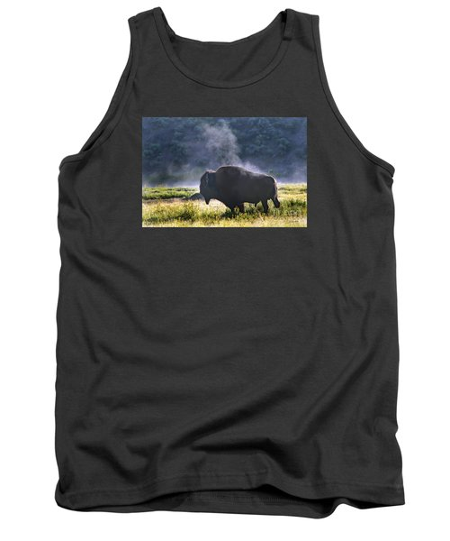 Buffalo Steam-signed-#2170 Tank Top by J L Woody Wooden