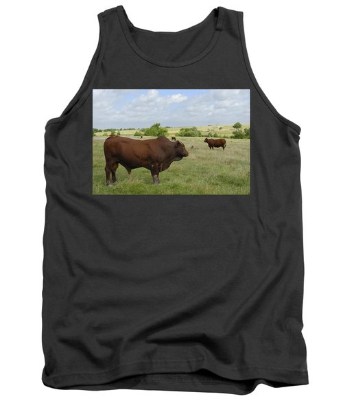 Tank Top featuring the photograph Bull And Cattle by Charles Beeler