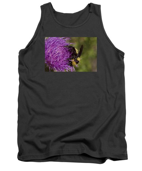 Bumble Bee On Thistle Tank Top by Shelly Gunderson