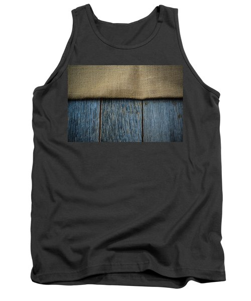 Burlap Texture On Wooden Table Background Tank Top