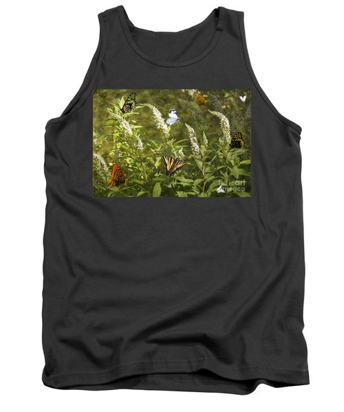 Butterflies In Golden Garden Tank Top by Belinda Greb