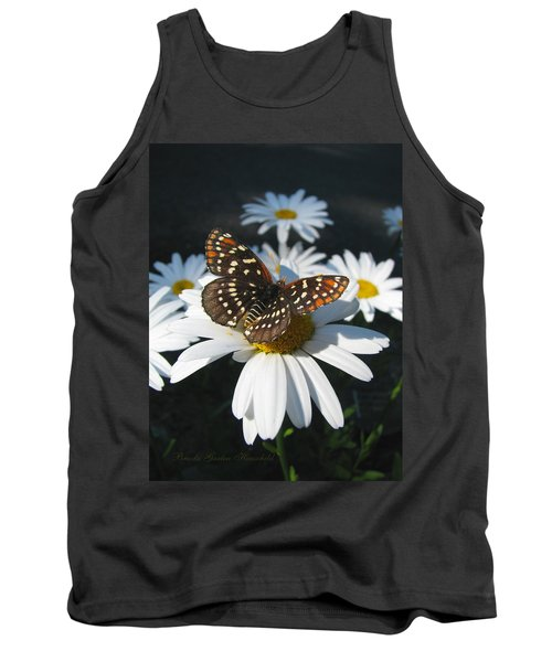 Butterfly And Shasta Daisy - Nature Photography Tank Top