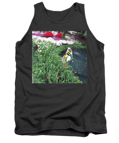 Tank Top featuring the photograph Butterfly Garden Ladybug Flowers Green Theme by Navin Joshi