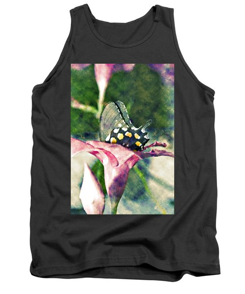 Butterfly In Flower Tank Top by Susan Leggett