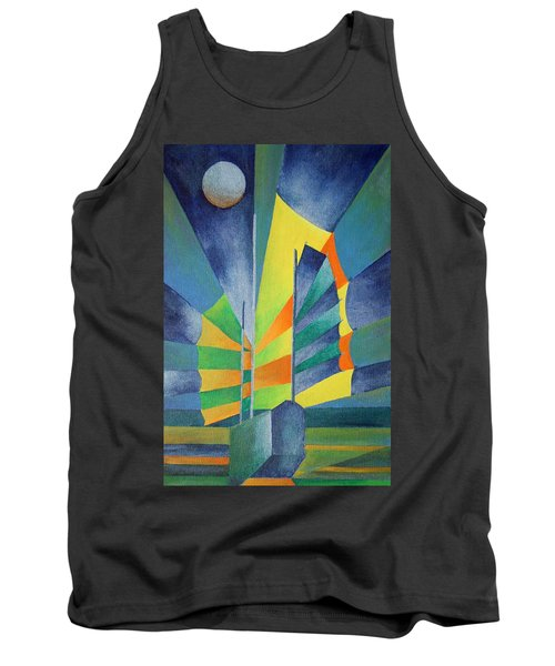 Tank Top featuring the painting By The Light Of The Silvery Moon by Tracey Harrington-Simpson