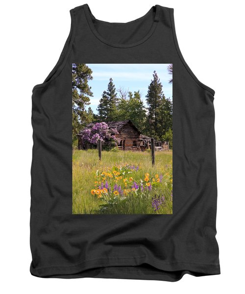 Cabin And Wildflowers Tank Top by Athena Mckinzie