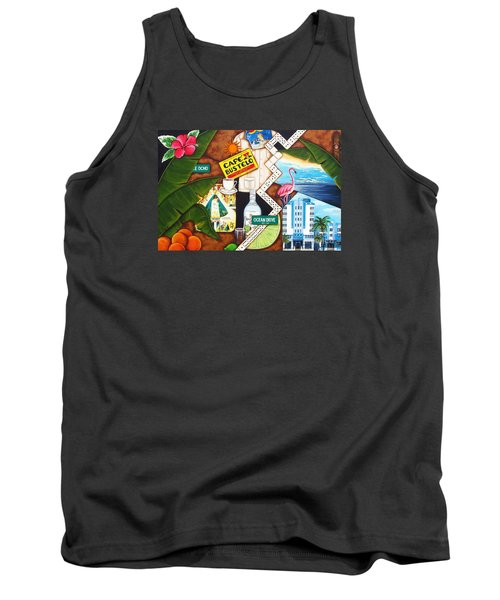 Tank Top featuring the painting Cafe Miami by Joseph Sonday