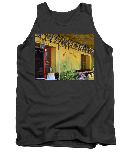 Tank Top featuring the photograph Cafe Van Gogh by Allen Sheffield
