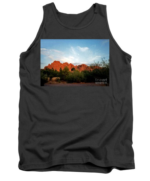 Camelback Mountain And Moon Tank Top by Connie Fox